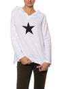 Cloud Fleece Slouchy Sweatshirt W/Black Star (Style CLO-04-501, White w/Black Star) by Hard Tail Forever
