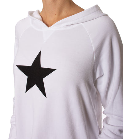 Cloud Fleece Slouchy Sweatshirt W/Black Star (Style CLO-04-501, White w/Black Star) by Hard Tail Forever alt view 6