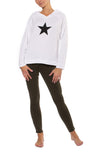 Cloud Fleece Slouchy Sweatshirt W/Black Star (Style CLO-04-501, White w/Black Star) by Hard Tail Forever alt view 8