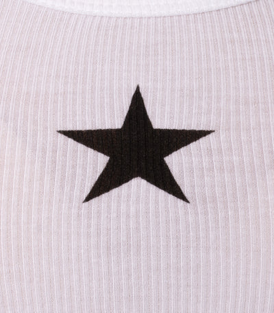 Hard Tail Forever - Rayon Ribbed Tank W/White Star (RR-19-601, White w/Black Star) alt view 5