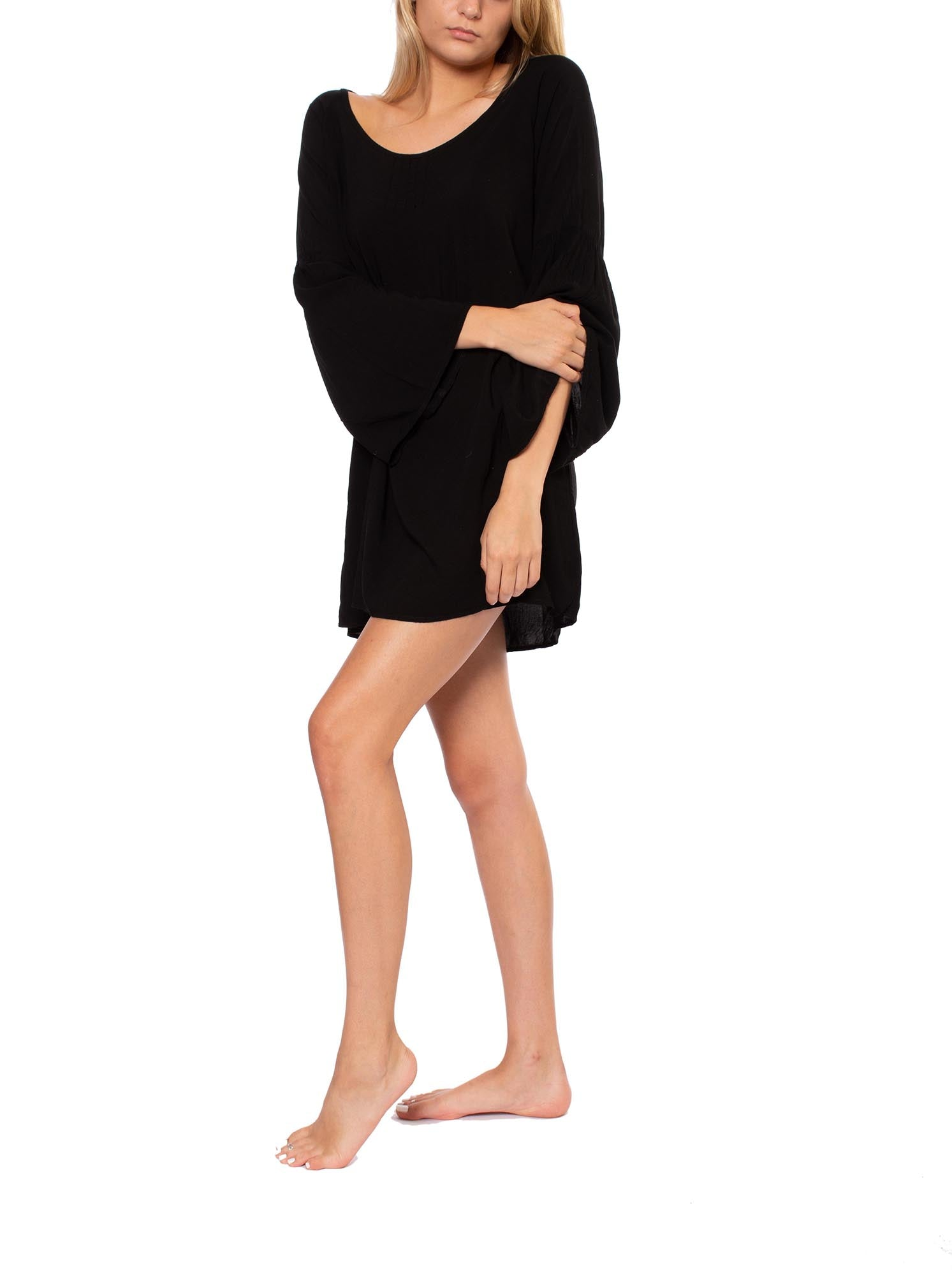 Hippy Pintuck Tunic (Style RV-16, Black) by Hard Tail Forever