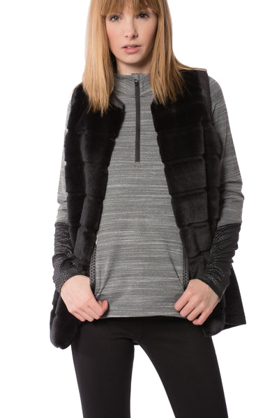Faux Fur/Leather Crinkle Vest (Style T74AB, Black) by Capote