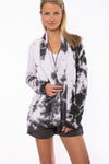 Hard Tail Forever - Slouchy Cardigan (SHE-02, Tie-Dye Black & White Moonscape)