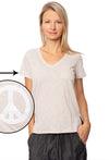 V Neck White T W/Peace Sequin (Style VNWP, Beige) by Sojara