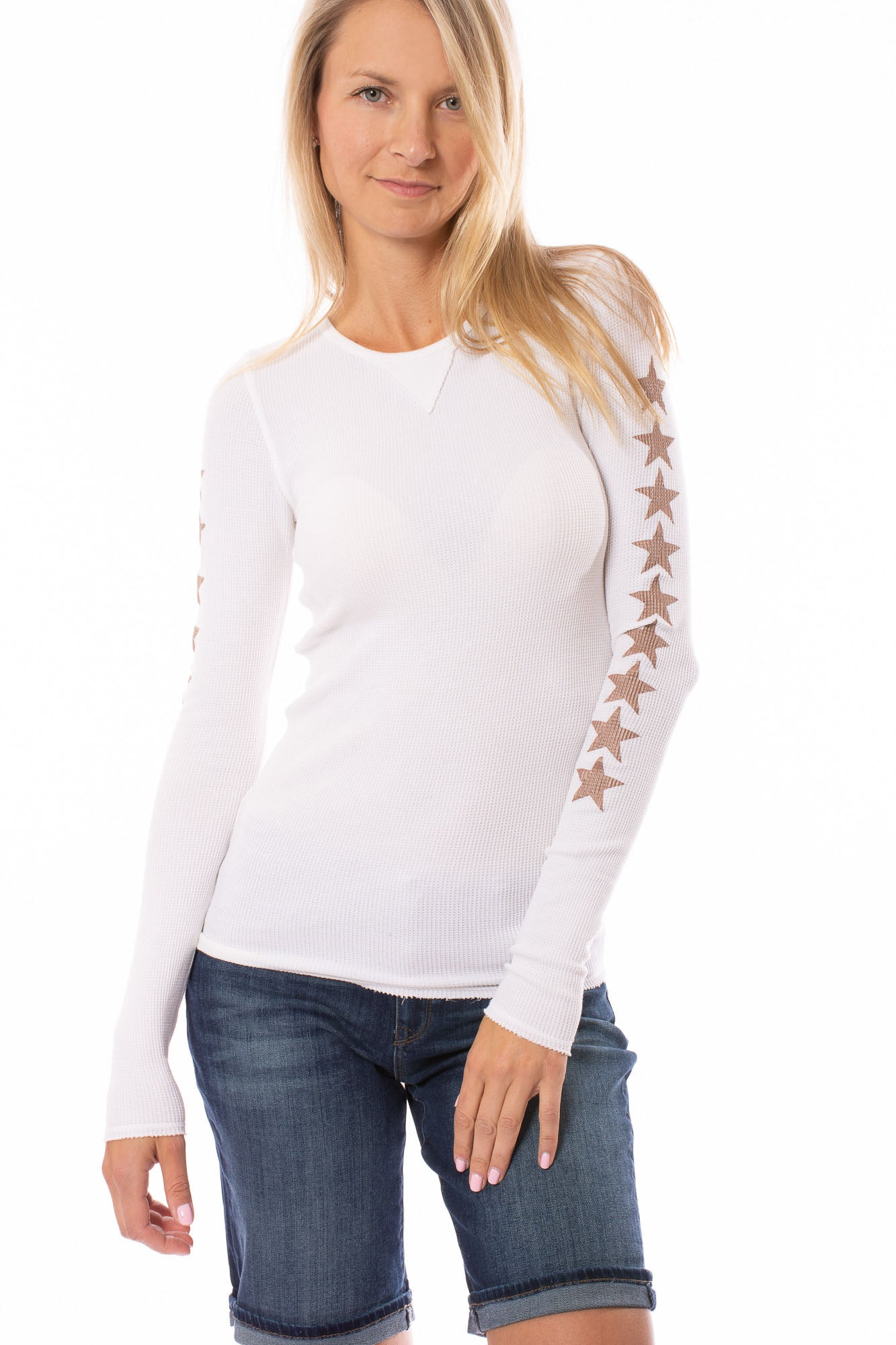 Hard Tail Forever - Vintage Thermal W/Stars (TH-28-507, Cream w/Rose Gold Stars)