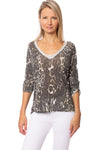 Gigi Moda - Leopard Print Silver Sparkle V Neck Gathered Button Sleeve (8525, Leopard Print (White))