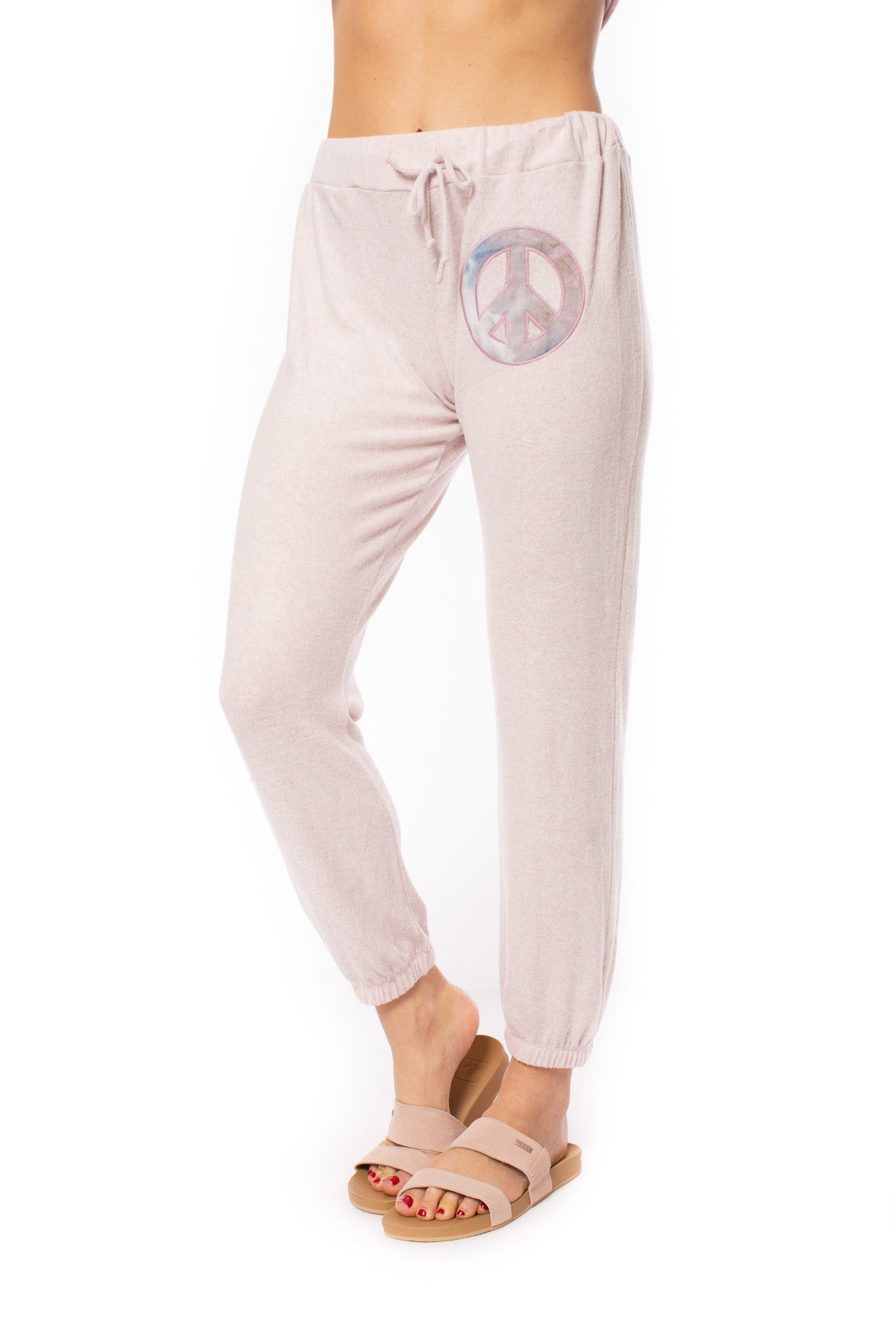 Vintage Havana - Peach Sign Patch Jogger (S10937, Heathered Mauve Pink)