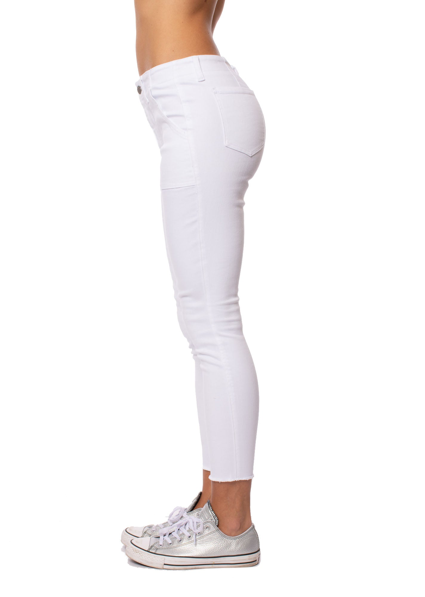 Level 99 - Karli Patch Pocket Skinny Jeans (J82E36, White)
