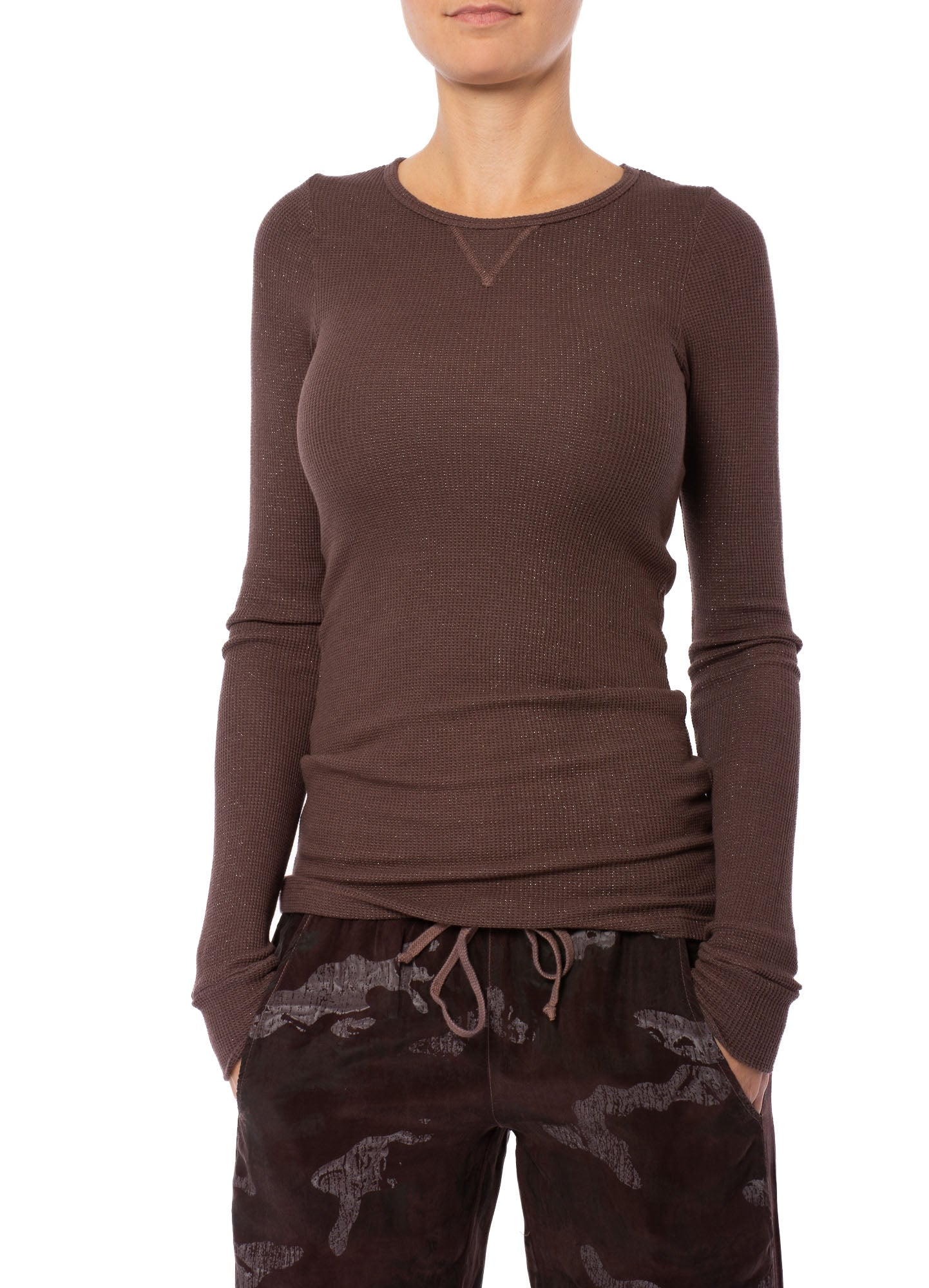 Hard Tail Forever - Thermal Long Sleeve T W/Silver Lurex (LTH-04, Mocha w/Silver Lurex)