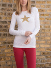 Supima/Lycra Long Sleeve Scoop Tee (Style SL-69, White / Gold Star) by Hard Tail Forever