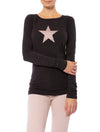 Hard Tail Forever - Supplex Lycra Long Sleeve Scoop Tee (SL-69-501, Raven w/Rose Gold Star)