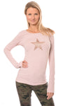 Hard Tail Forever - Supima/Lycra Long Sleeve Scoop Tee W/Rose Gold Star (SL-69-501, Rose w/Rose Gold Star)