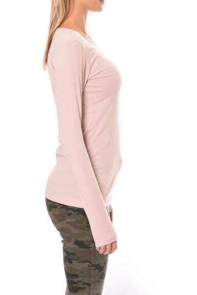 Hard Tail Forever - Supima/Lycra Long Sleeve Scoop Tee W/Rose Gold Star (SL-69-501, Rose w/Rose Gold Star) alt view 1