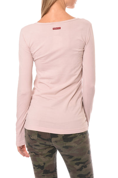 Hard Tail Forever - Supima/Lycra Long Sleeve Scoop Tee W/Rose Gold Star (SL-69-501, Rose w/Rose Gold Star) alt view 2