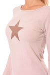 Hard Tail Forever - Supima/Lycra Long Sleeve Scoop Tee W/Rose Gold Star (SL-69-501, Rose w/Rose Gold Star) alt view 6