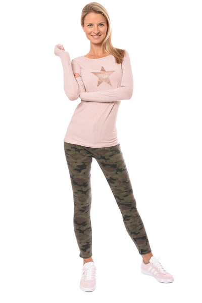 Hard Tail Forever - Supima/Lycra Long Sleeve Scoop Tee W/Rose Gold Star (SL-69-501, Rose w/Rose Gold Star) alt view 7