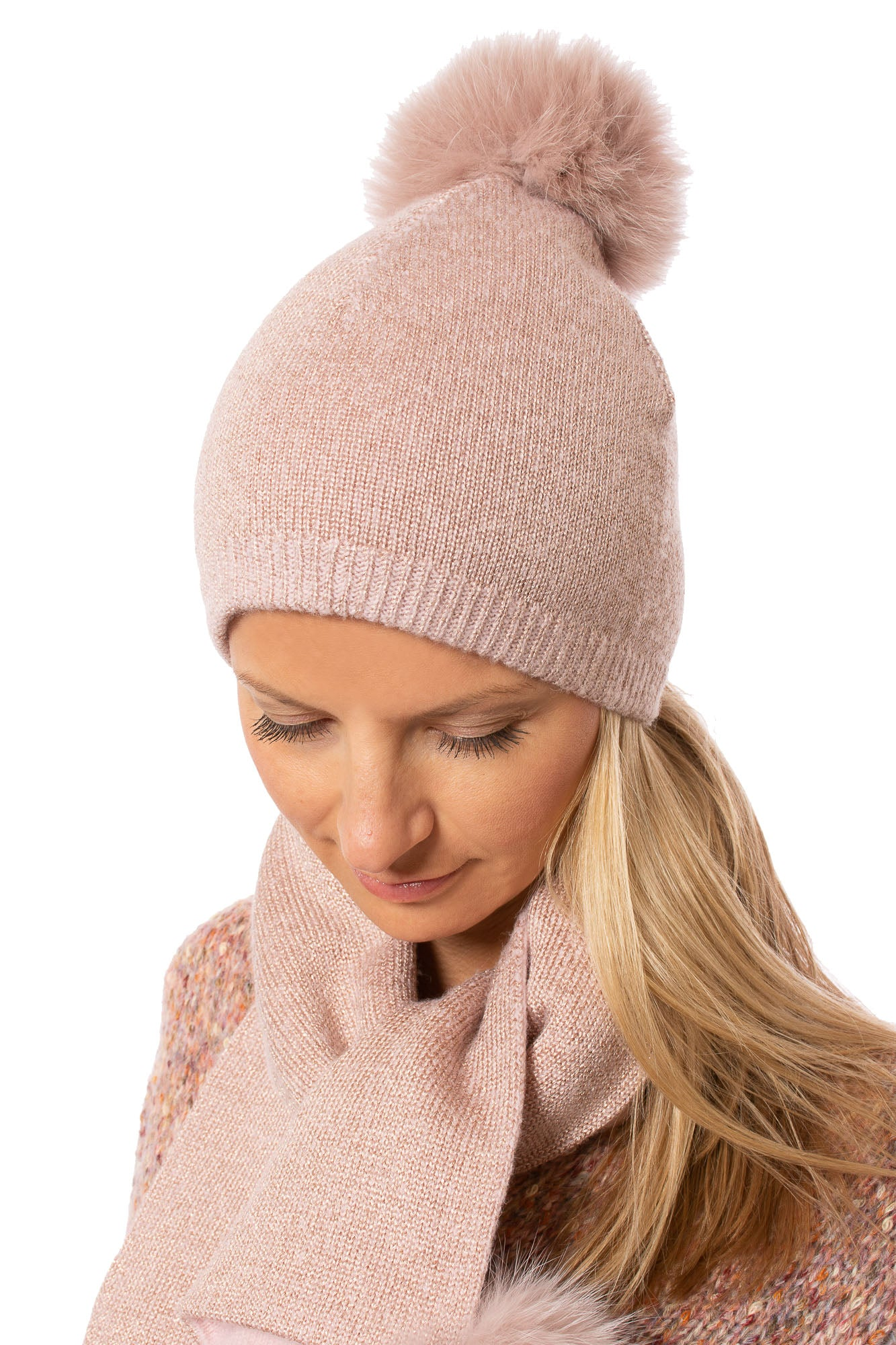 Mitchie's - Dusty Pink Hat With Lurex And Faux Fur Pom (IMH7, Pink Lurex)