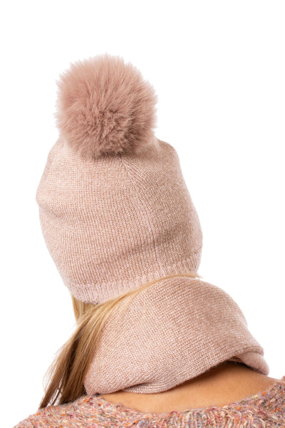 Mitchie's - Dusty Pink Hat With Lurex And Faux Fur Pom (IMH7, Pink Lurex) alt view 1
