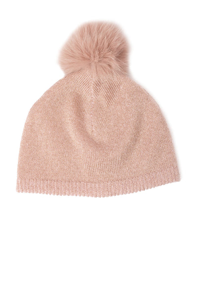 Mitchie's - Dusty Pink Hat With Lurex And Faux Fur Pom (IMH7, Pink Lurex) alt view 2