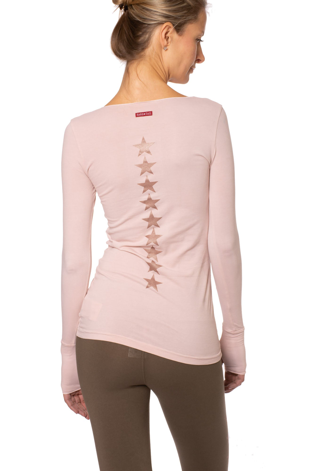 Hard Tail Forever - Long Sleeve Thumbhole w/Star On Back (SL-143-602, Rose w/Rose Gold)
