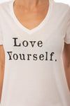 Sol Angeles - Love Yourself V Neck T (SW20-1127, Dark White) alt view 4