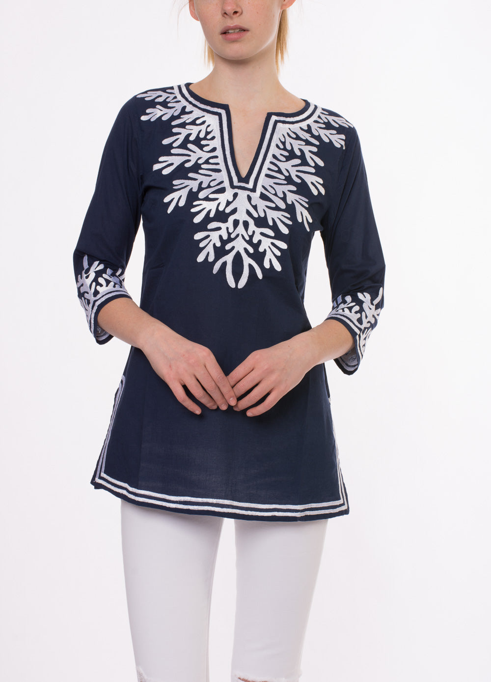 Reef Tunic (Style REEF-TUNIC, Navy/White) by Green Meem