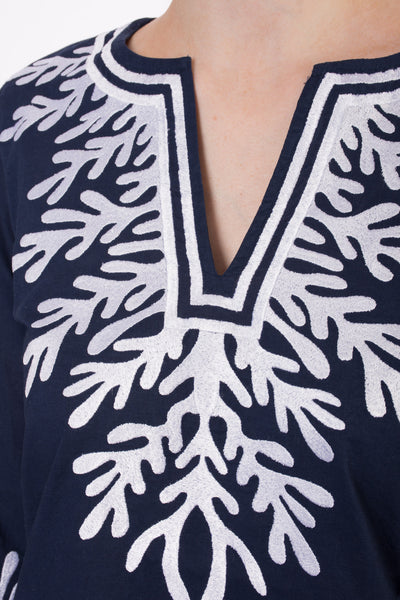 Reef Tunic (Style REEF-TUNIC, Navy/White) by Green Meem alt view 2