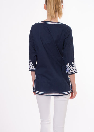Reef Tunic (Style REEF-TUNIC, Navy/White) by Green Meem alt view 5