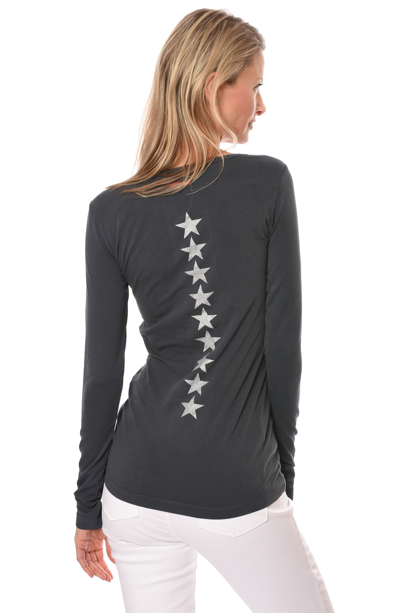 Hard Tail Forever - Supima/Lycra Long Sleeve Scoop Tee w/Silver Stars On Back (SL-69, Onyx w/Silver Stars)