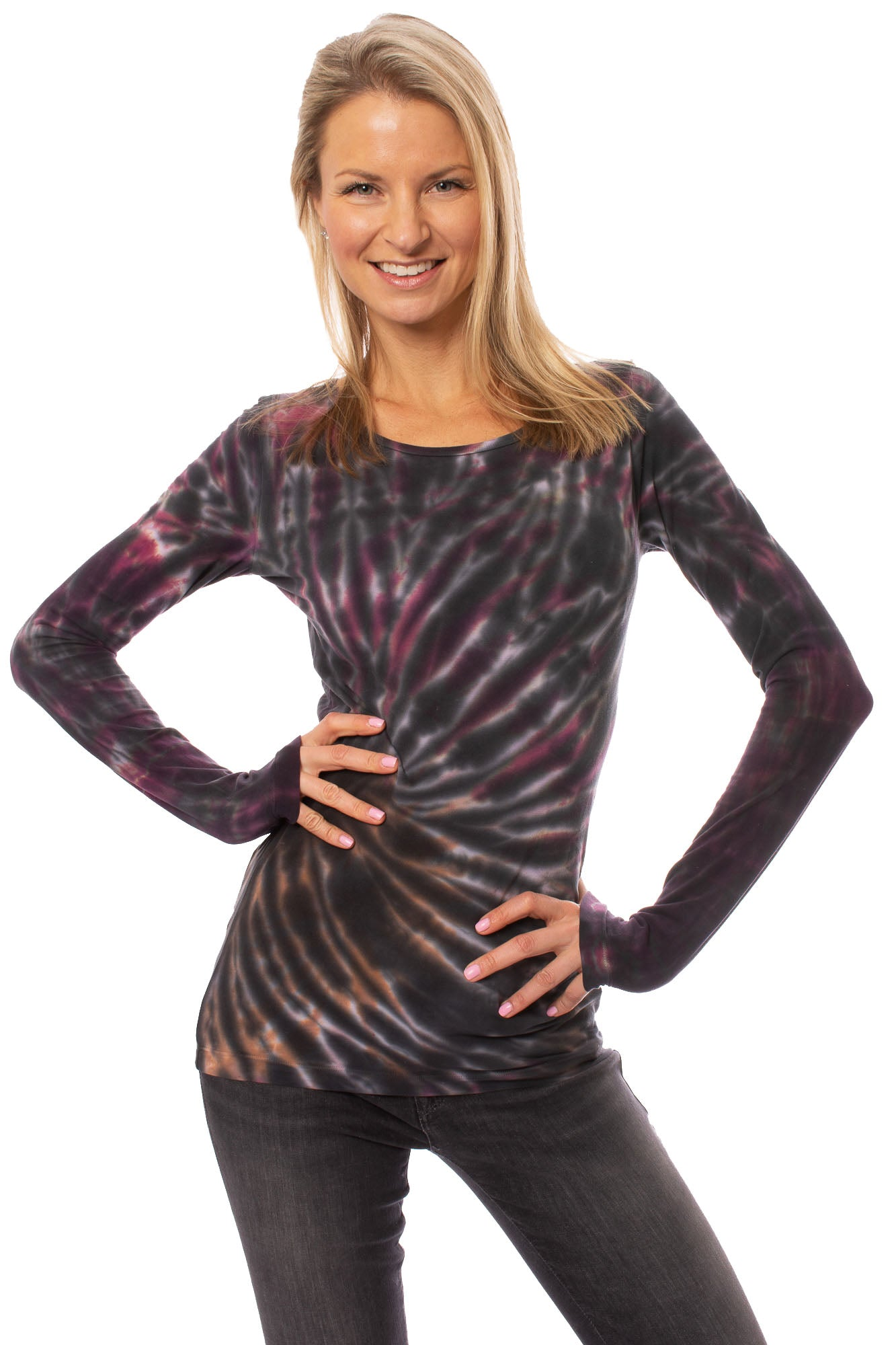 Hard Tail Forever - Supima/Lycra Long Sleeve Scoop Tee (SL-69, Tie-Dye TTS1)