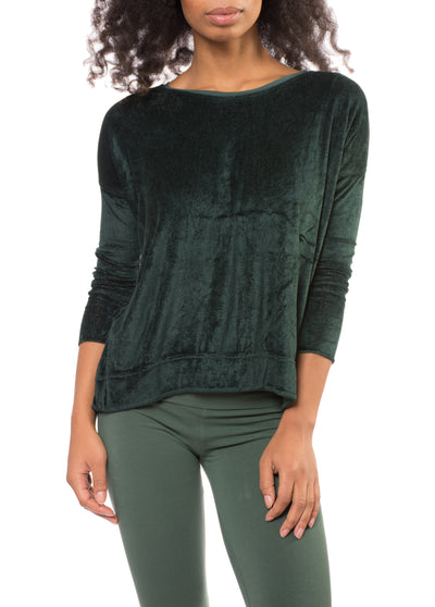 Long Sleeve Float Hem Crew Sleeve (Style PANE-18, Hunter Green) by Hard Tail Forever