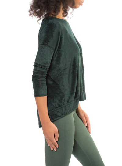 Long Sleeve Float Hem Crew Sleeve (Style PANE-18, Hunter Green) by Hard Tail Forever alt view 1