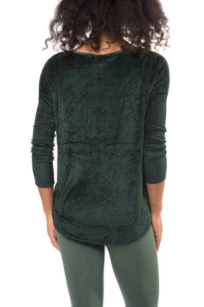 Long Sleeve Float Hem Crew Sleeve (Style PANE-18, Hunter Green) by Hard Tail Forever alt view 2