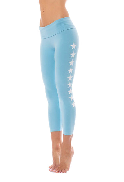 Hard Tail Forever - Roll Down Layered Legging W/Star (588-509, Fountain w/White Stars)