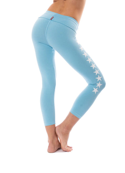 Hard Tail Forever - Roll Down Layered Legging W/Star (588-509, Fountain w/White Stars) alt view 2