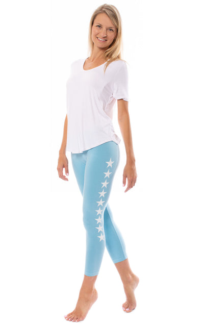 Hard Tail Forever - Roll Down Layered Legging W/Star (588-509, Fountain w/White Stars) alt view 7