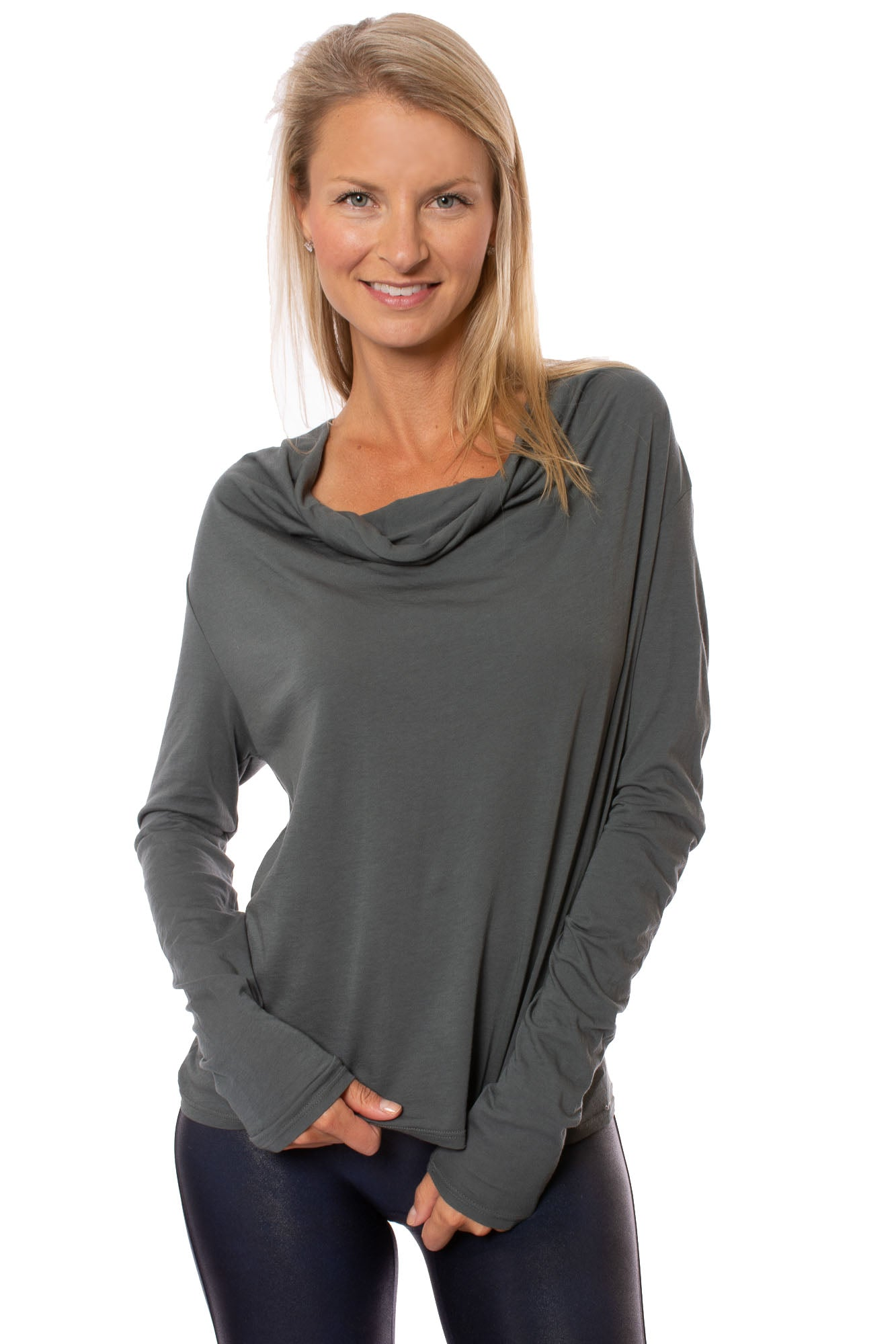 LA Made - Selene Long Sleeve Cowl Neck (CN1154, Gray)