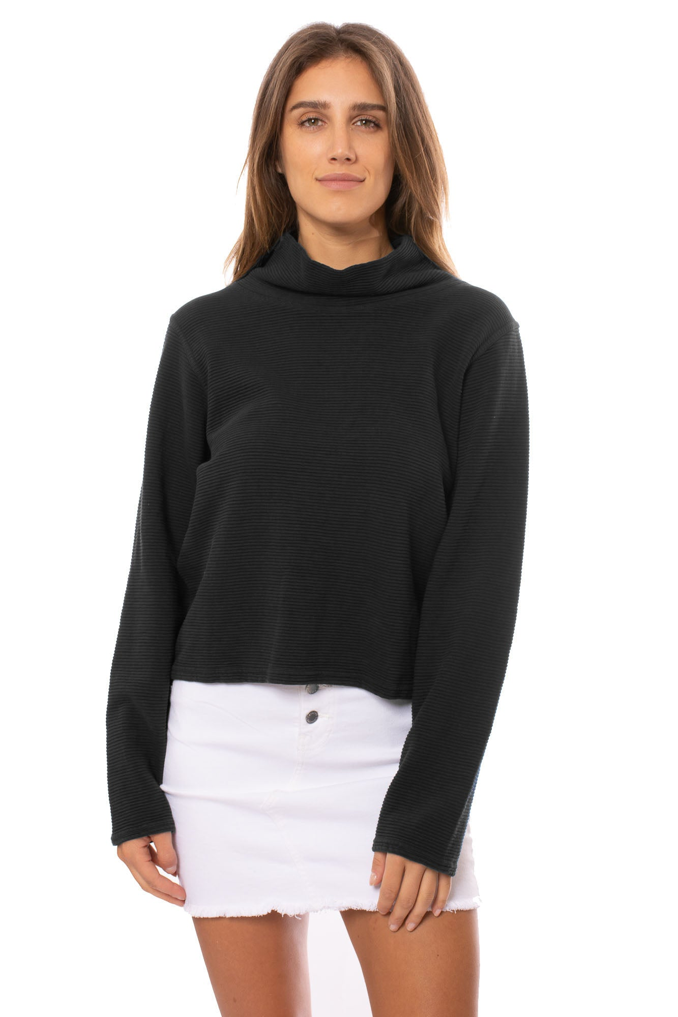 Hard Tail Forever - Cowl Neck Pullover (DL-14, Black) alt view 1