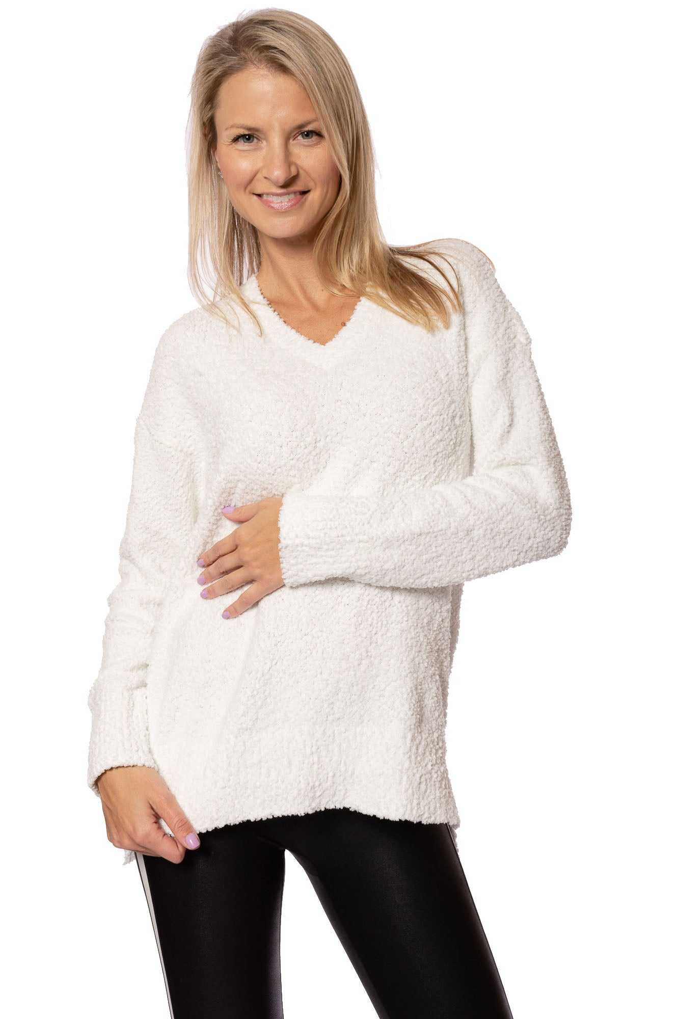 Sanctuary - V-Neck Teddy Sweater (CW0606Z23, Opal)