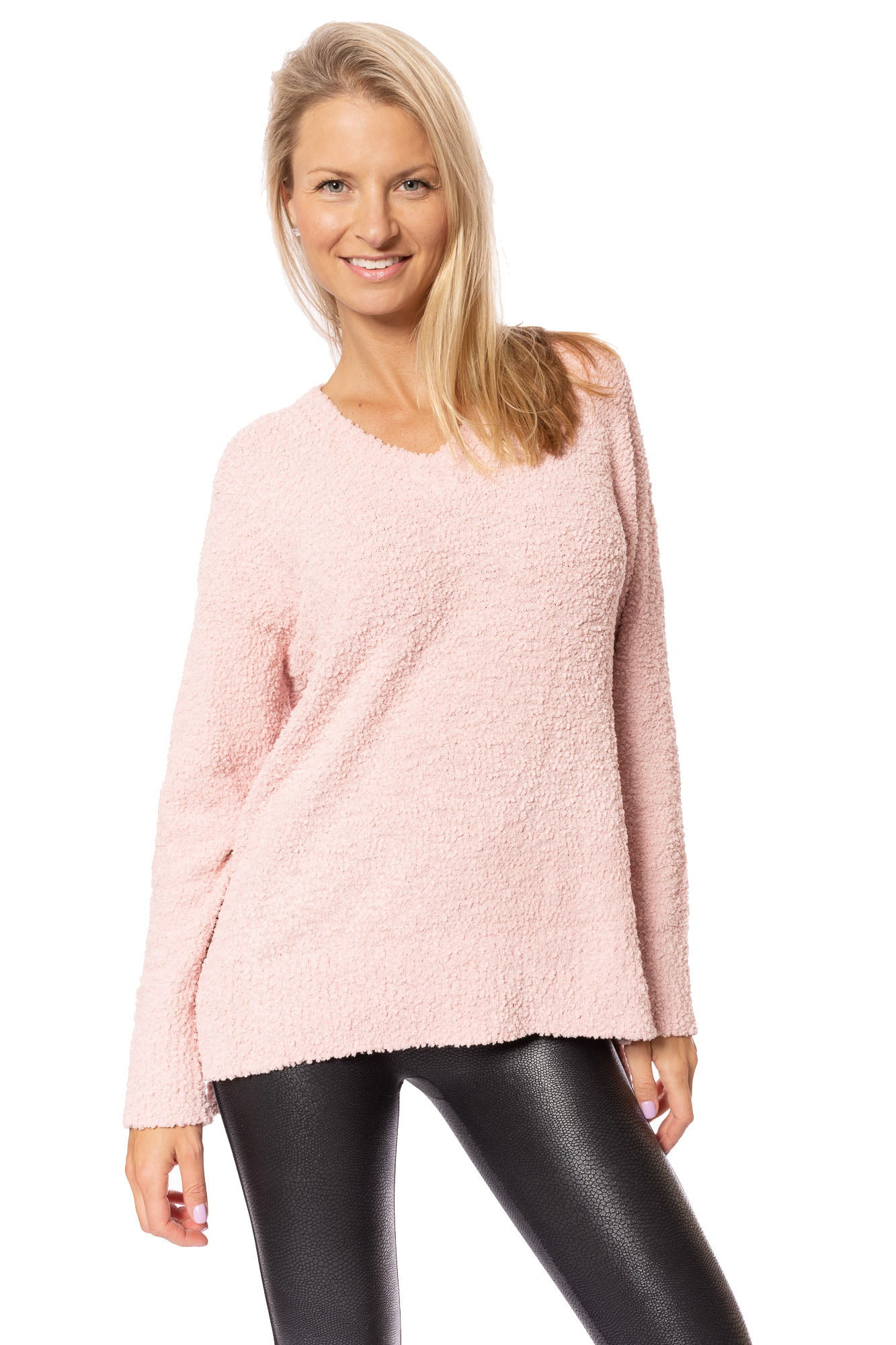 Sanctuary - V-Neck Teddy Sweater (CW0606Z23, Rose)