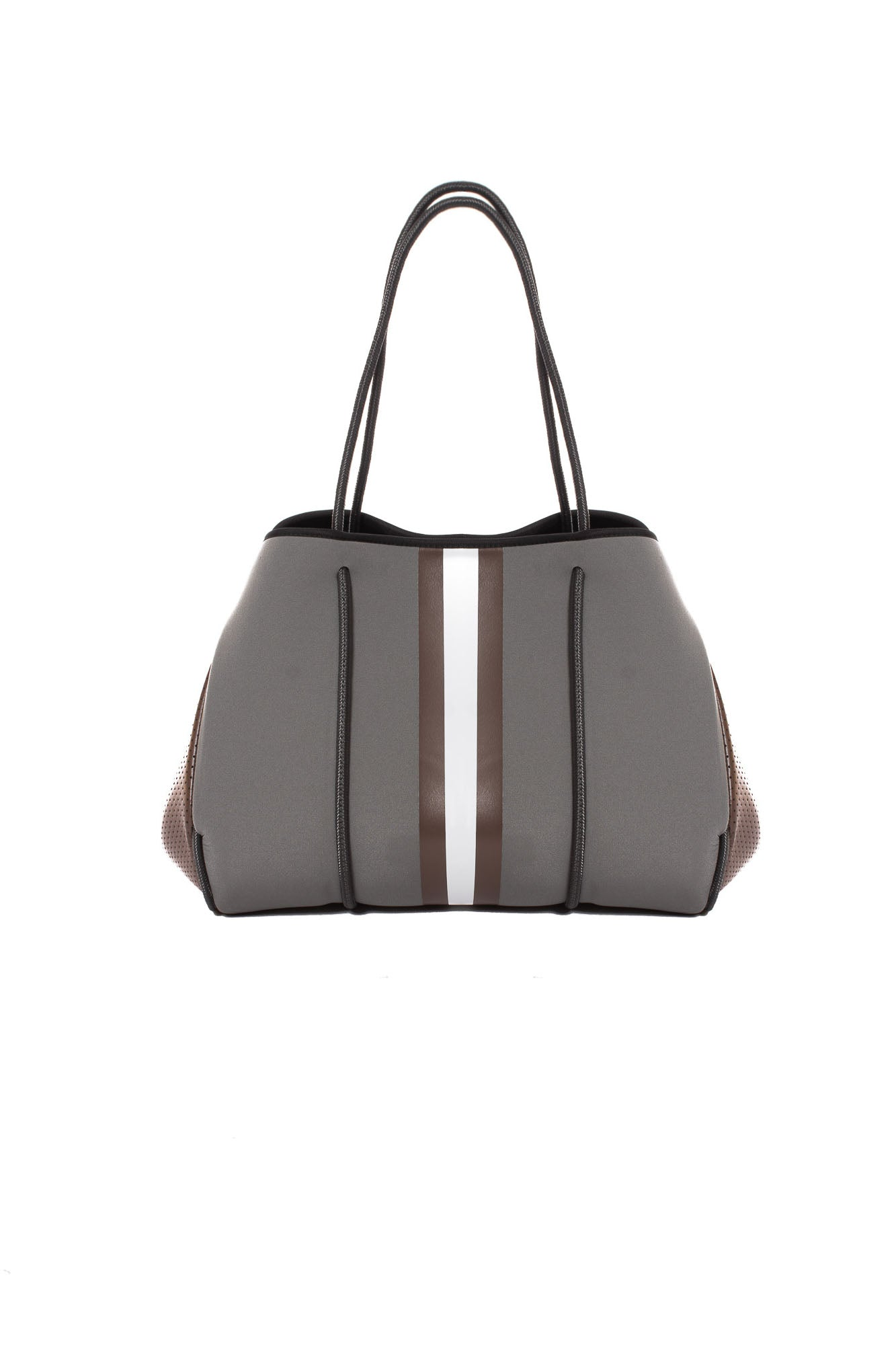 Haute Shore - Cocoa Neoprene Tote Bag w/Zipper Wristlet Inside (Greyson, Grey w/Brown & White Stripe)