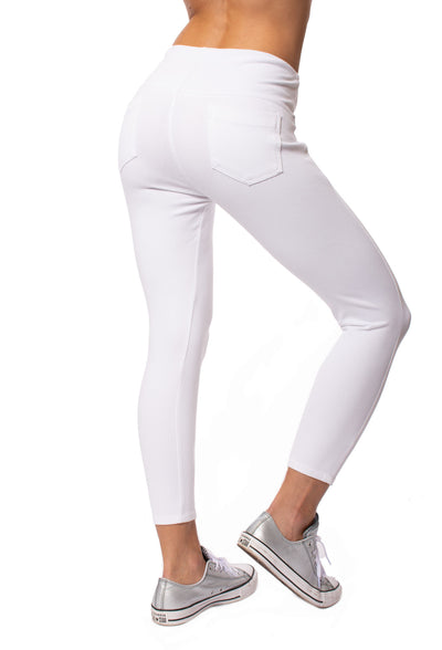Lysse - Toothpick Crop Denim Jeans (12-1608-M9, White) alt view 2