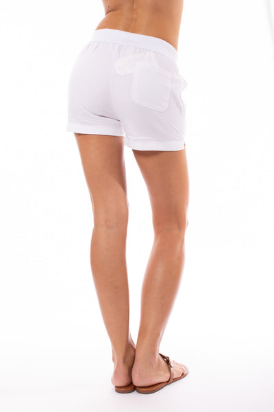 Elan - Drawstring Shorts w/Pockets (LL3042, White) alt view 2