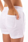 Elan - Drawstring Shorts w/Pockets (LL3042, White) alt view 3