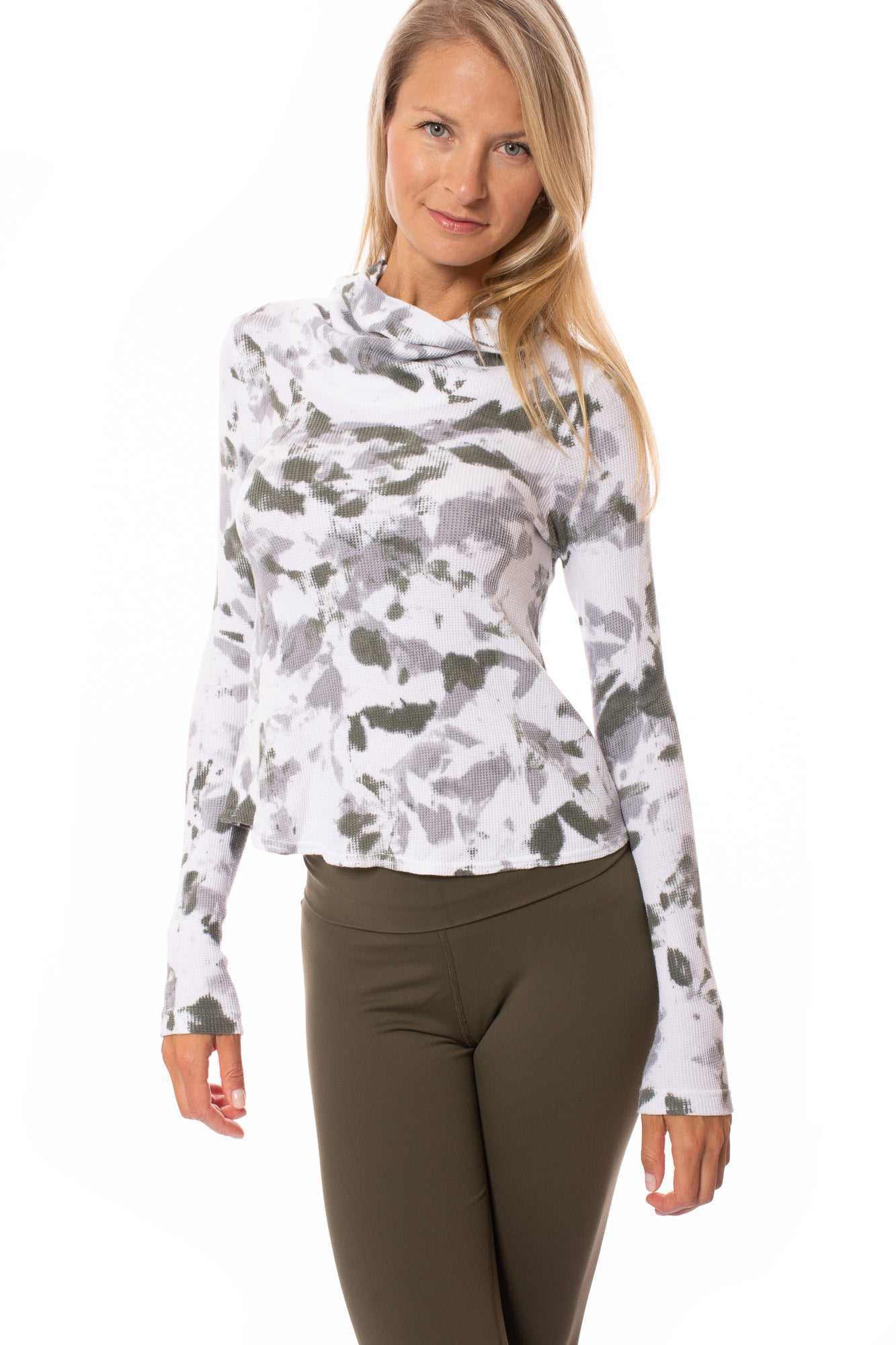 Hard Tail Forever - Long Sleeve Funnel Neck Thermal (TH-104, Green & White Camo Tie-Dye)