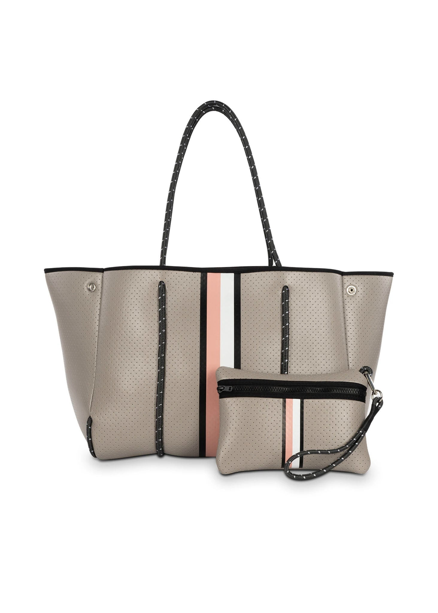 Greyson Posh Neoprene Tote Bag w/Zipper Wristlet Inside (Style Greyson, Taupe w/Black, Blush, & White Strap) by Haute Shore