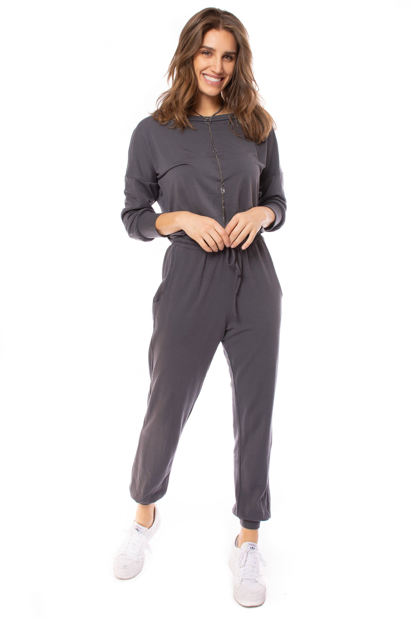 Solid Grey Drawstring Jumper (Style PS-492, Charcoal) by Veronica M.