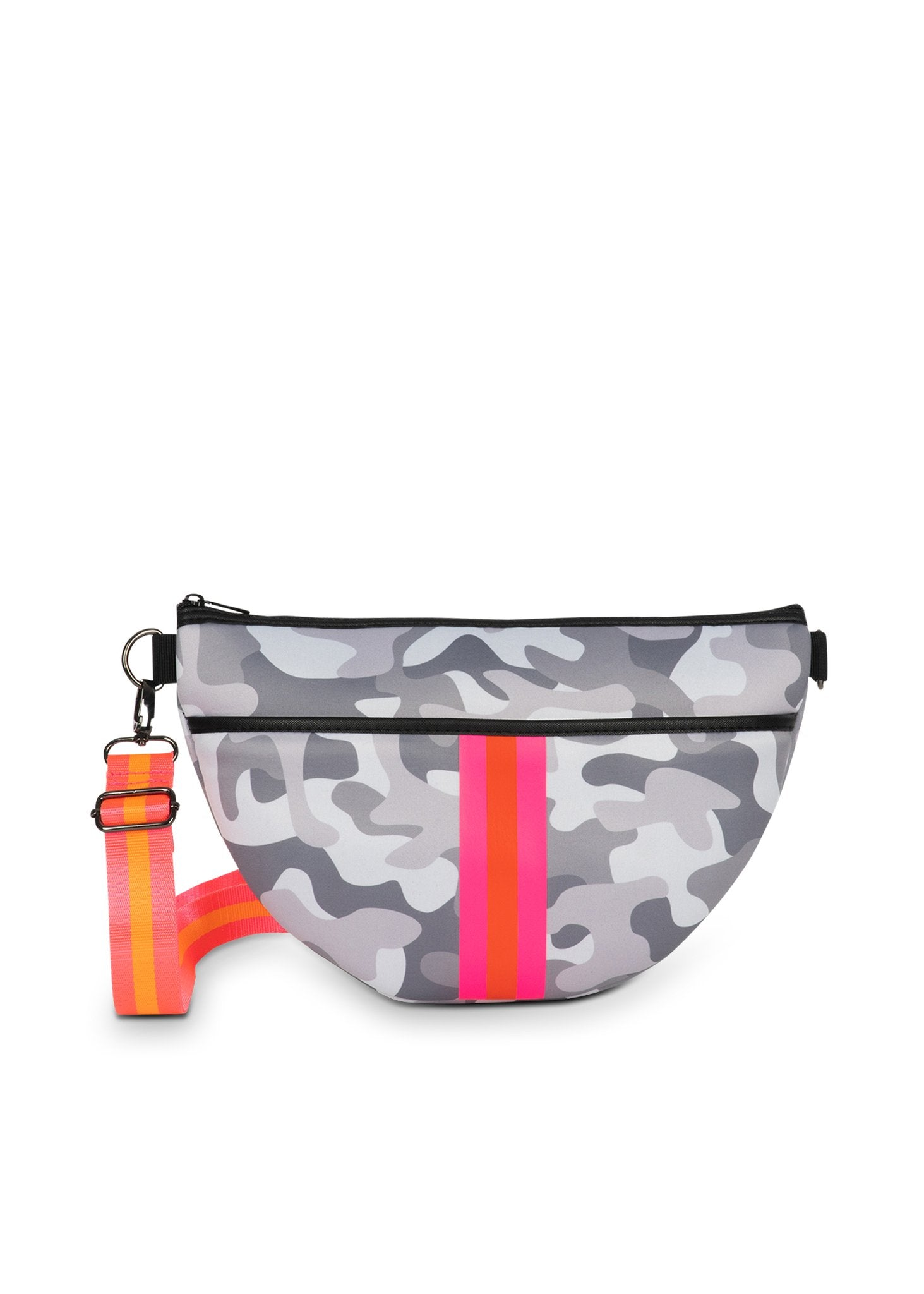 Haute Shore - Brett Rise Belt Bag (Bret, White Camo w/Pink Orange Stripe)