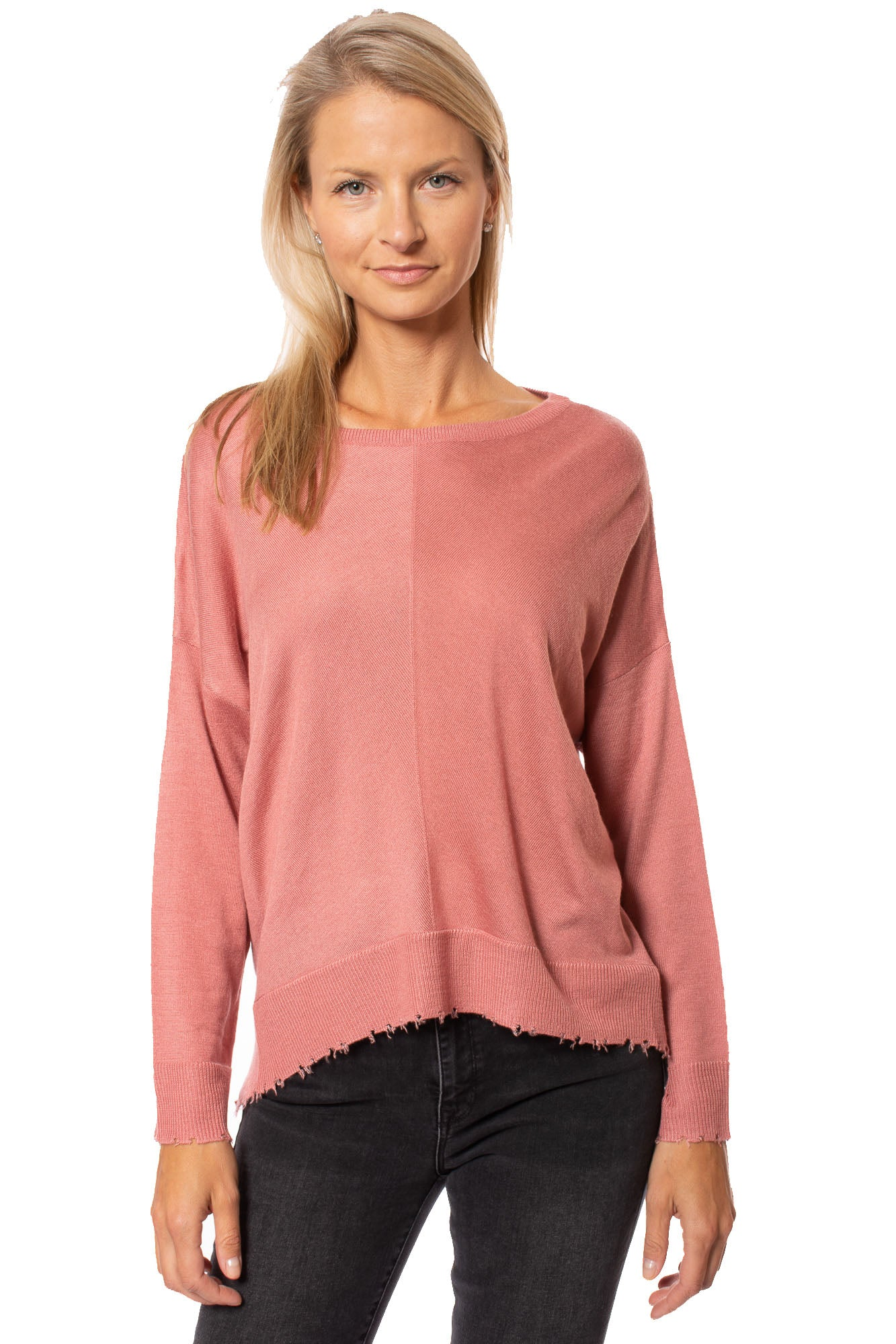 Kerisma - Lawson Sweater W/Distressed Fringe Hem (M3304, Rose)