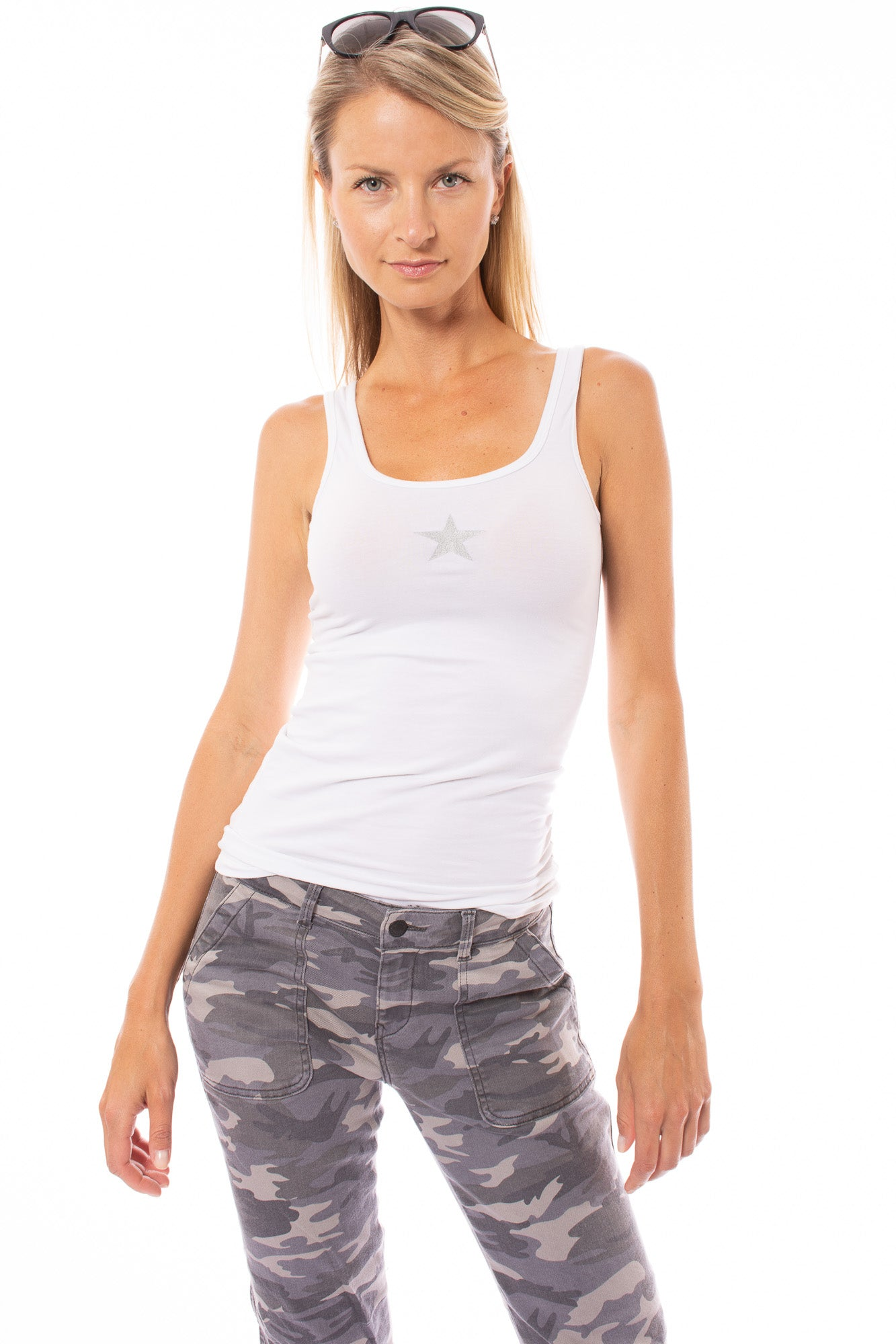 Hard Tail Forever - Supima Cotton Lycra Sexy Tank w/Silver Star (SL-21, Frost w/Silver Star)